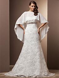 economico -A sirena A cuore Strascico di corte Chiffon Di pizzo Vestito da sposa con Cristalli Bottoni di LAN TING BRIDE®