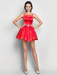 A-Line Princess Scoop Neck Short / Mini Tulle Charmeuse Cocktail Party Prom Dress with Beading by TS Couture®