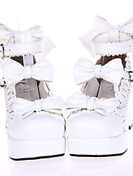 Lolita Shoes Sweet Lolita Princess High Heel Shoes Bowknot 7.5 CM White For PU Leather/Polyurethane Leather Polyurethane Leather