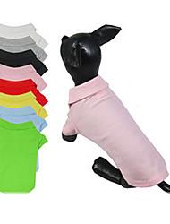 Cani T-shirt Rosso Giallo Verde Blu Nero Bianco Rosa Grigio Abbigliamento per cani Estate Primavera/Autunno Tinta unita Casual