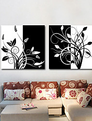 Stretched Canvas Art Black and White Floral Branches Set of 2