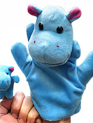 cheap -2PCS Parent-child Hand&Finger Puppets Blue Hippos