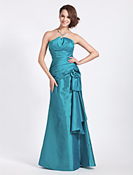 Mermaid / Trumpet Strapless Notched Floor Length Taffeta Bridesmaid Dress with Flower(s) Ruching Side Draping by LAN TING BRIDE®
