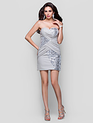 cheap -Sheath / Column Strapless / Sweetheart Neckline Short / Mini Chiffon / Sequined Cocktail Party Dress with Sequin / Side Draping by