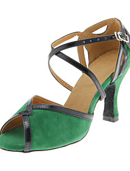 Women's Latin Ballroom Suede Heel Buckle Customized Heel Green Customizable