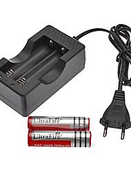 Недорогие -AC зарядное устройство + 2xУльтраFire 18650 3.7V 3000mAh аккумуляторная батарея with EU 100-240V