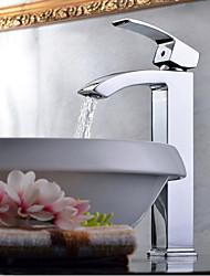abordables -Moderne Vasque Jet pluie Soupape céramique 1 trou Mitigeur un trou Chrome, Robinet lavabo