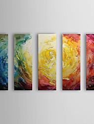 Pintados à mão Abstrato Horizontal,Moderno 5 Painéis Pintura a Óleo For Decoração para casa