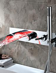 Недорогие -Смеситель для ванны - Современный Хром Ванна и душ Керамический клапан Bath Shower Mixer Taps / Одной ручкой пять отверстий
