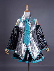 cheap -Inspired by Vocaloid Hatsune Miku Video Game Cosplay Costumes Cosplay Suits / Dresses Patchwork Sleeveless Shirt Skirt Sleeves Costumes