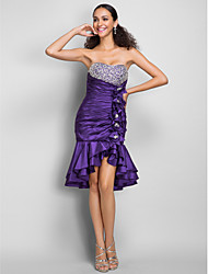 Eng anliegend Sweetheart Kurz / Mini Taft Cocktailparty Kleid mit Perlenstickerei Kristall Verzierung Blume(n) Seitlich drapiert durchTS