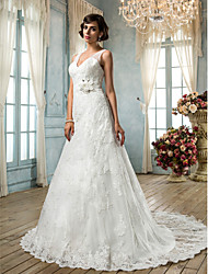 A-Line V-neck Sweep / Brush Train Lace Wedding Dress with Beading Appliques Sash / Ribbon Button Flower by LAN TING BRIDE®