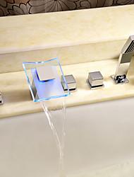 abordables -Robinet de baignoire - Moderne Chrome Baignoire romaine Soupape céramique / Laiton / Deux poignées cinq trous