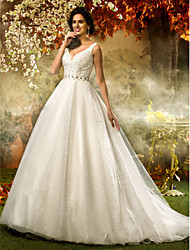 A-Line Princess V-neck Sweep / Brush Train Tulle Sequined Wedding Dress with Beading Sequin Sash / Ribbon by LAN TING BRIDE®