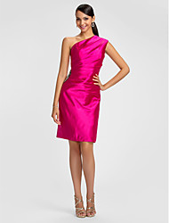 cheap -Sheath / Column One Shoulder Knee Length Stretch Satin Bridesmaid Dress with Beading Side Draping by LAN TING BRIDE®