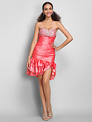 cheap -Sheath / Column Sweetheart Neckline Short / Mini Taffeta Cocktail Party Dress with Crystals / Ruffles / Ruched by TS Couture®