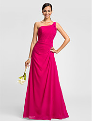 cheap -A-Line One Shoulder Floor Length Chiffon Bridesmaid Dress with Criss Cross by LAN TING BRIDE®