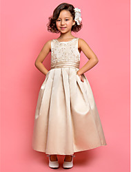 A-Line Princess Ankle Length Flower Girl Dress - Satin Sleeveless Jewel Neck with Appliques by LAN TING BRIDE®