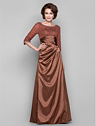 cheap -Sheath / Column Bateau Floor-length Lace Charmeuse Mother of the Bride Dress by LAN TING BRIDE®