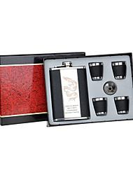 abordables -9-oz padrino de boda regalo de acero inoxidable personalizada calidad 6 pedazos frasco en la caja de regalo