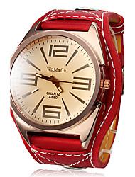 abordables -Femme Quartz Montre Bracelet Grosses soldes Cuir Bande Charme Montre Habillée Mode Rouge