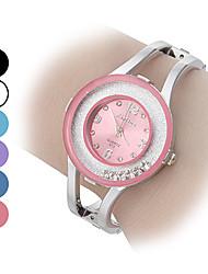 Mulheres Relógio de Moda Bracele Relógio Relógios Femininos com Cristais Quartzo imitação de diamante Lega Banda Brilhante Bracelete Prata