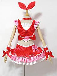 preiswerte -Inspiriert von PrettyCure Cure Melody Anime Cosplay Kostüme Cosplay Kostüme Kleider Patchwork Ärmellos Top Rock Armband Schleife Für Frau