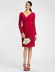 cheap -Sheath / Column V Neck Knee Length Chiffon Bridesmaid Dress with Sash / Ribbon / Criss Cross by LAN TING BRIDE® / Illusion Sleeve