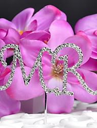 cheap -Cake Topper Monogram Wedding With Rhinestone OPP Wedding Reception
