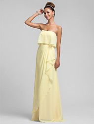 cheap -Sheath / Column Strapless Floor Length Chiffon Bridesmaid Dress with Ruffles Cascading Ruffles by LAN TING BRIDE®