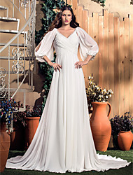 cheap -A-Line V Neck Court Train Chiffon Custom Wedding Dresses with by LAN TING BRIDE®