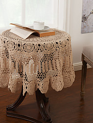 cheap -1Pc Beige 100% Cotton Round Lace Table Cloths Home Decorations