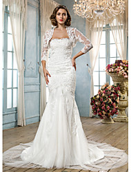 Mermaid / Trumpet Scalloped-Edge Court Train Tulle Wedding Dress with Beading Appliques by LAN TING BRIDE®