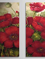Pintados à mão Floral/Botânico Panorâmico vertical Tela de pintura Pintura a Óleo Decoração para casa 2 Painéis