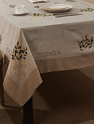 cheap -Beige Linen / Cotton Blend Rectangular Table Cloths