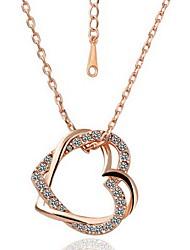 Delicate Ouro 18K liga Chapada Com Brilhante Colar em forma de coração de cristal