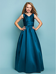 cheap -A-Line / Princess V Neck Floor Length Satin Junior Bridesmaid Dress with Sash / Ribbon / Criss Cross by LAN TING BRIDE® / Spring / Summer / Fall / Apple / Hourglass