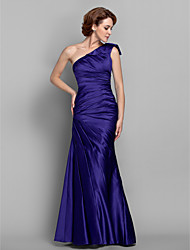 cheap -Mermaid / Trumpet One Shoulder Floor Length Satin Mother of the Bride Dress with Side Draping by LAN TING BRIDE®