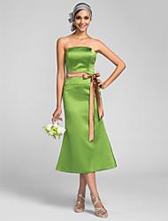 abordables -sirène / trompette longueur de thé sans bretelles robe de demoiselle d'honneur en satin avec lanière de lan ting bride®