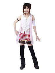 cheap -Inspired by Final Fantasy Serah Farron Video Game Cosplay Costumes Cosplay Suits Plaid White SleevelessVest / Top / Skirt / Armlet /