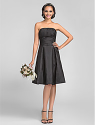 cheap -A-Line Princess Strapless Knee Length Taffeta Bridesmaid Dress with Draping Ruching by LAN TING BRIDE®