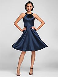 cheap -A-Line Jewel Neck Knee Length Stretch Satin Bridesmaid Dress with Side Draping by LAN TING BRIDE®