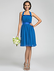 A-Line Halter Knee Length Chiffon Stretch Satin Bridesmaid Dress with Draping Bandage by LAN TING BRIDE®