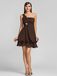 cheap -A-Line One Shoulder Short / Mini Chiffon Cocktail Party Dress with Draping / Crystal Brooch / Ruched by TS Couture®