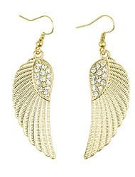 baratos -Brincos Compridos Moda Jóias de Luxo Europeu imitação de diamante Liga Asas / Penas Dourado Jóias Para Diário
