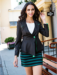 billiga TS®-ytterkläder-Ensfärgat Blazer-Klassisk & Tidlös Dam Formell Stil
