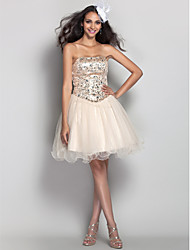 cheap -A-Line Strapless Short / Mini Tulle Prom Dress with Crystal by TS Couture®