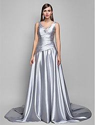 cheap -A-Line V-neck Sweep / Brush Train Satin Chiffon Formal Evening Dress with Criss Cross Side Draping by TS Couture®