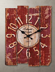 cheap -1Pc Wood 30.0*39.0*2.0Cm Country Style Khaki Wall Clock Home Deraction