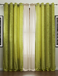 Rod Pocket Grommet Top Tab Top Double Pleat Two Panels Curtain Modern , Jacquard Solid Polyester Material Curtains Drapes Home Decoration